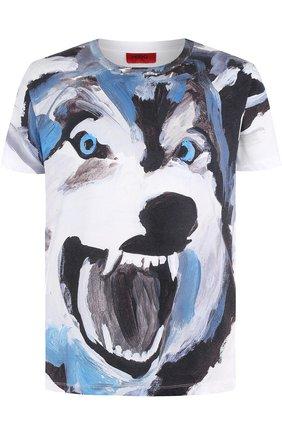 Хлопковая футболка с принтом HUGO белая   Фото №1
