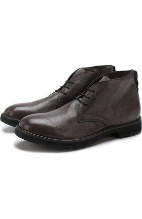 Кожаные ботинки на шнуровке Moma серые   Фото №1