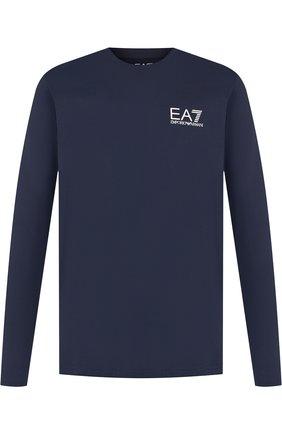 Хлопковый лонгслив с принтом Ea 7 темно-синяя | Фото №1