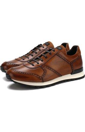 Кожаные кроссовки на шнуровке Kiton коричневые | Фото №1