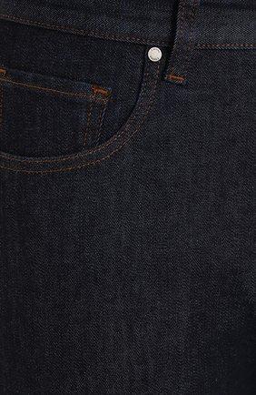 Джинсы прямого кроя с потертостями Z Zegna синие | Фото №5