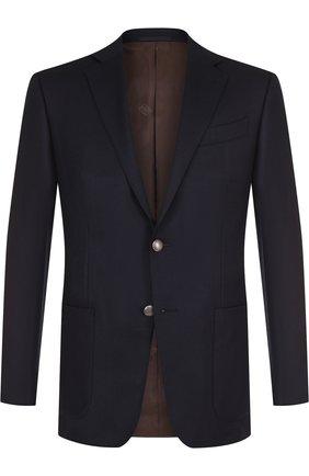Пиджак из смеси шерсти и кашемира Ermenegildo Zegna темно-синий | Фото №1