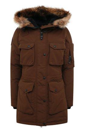 Пуховик с накладными карманами и меховой отделкой Arctic Explorer коричневая | Фото №1