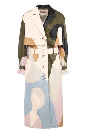 Кожаное пальто из силуэтных аппликаций Ruban разноцветного цвета | Фото №1