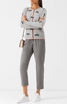 Женские укороченные шерстяные брюки с эластичным поясом ESCADA SPORT серого цвета, арт. 5026891 | Фото 2