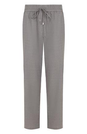 Укороченные шерстяные брюки с эластичным поясом Escada Sport серые | Фото №1