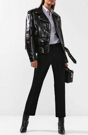 Кожаная куртка с косой молнией и поясом DROMe черная | Фото №1