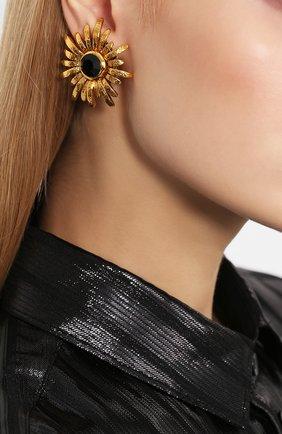 Серьги-клипсы с кристаллами Swarovski Larisa Barrera золотые | Фото №1