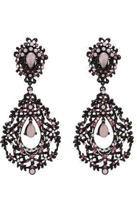 Серьги-клипсы с подвесками и кристаллами Swarovski Larisa Barrera розовые | Фото №1