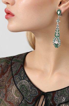 Серьги-клипсы с подвесками и кристаллами Swarovski Larisa Barrera зеленые | Фото №1