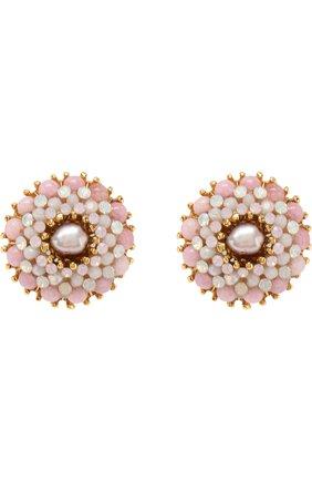 Серьги-клипсы с кристаллами Swarovski Larisa Barrera розовые | Фото №1