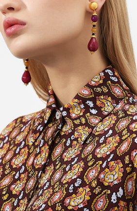 Серьги-клипсы с подвесками Larisa Barrera разноцветные | Фото №1