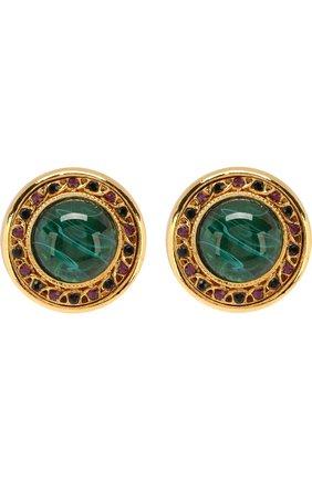 Серьги-клипсы с кристаллами Swarovski Larisa Barrera зеленые | Фото №1