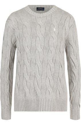 Женский хлопковый пуловер POLO RALPH LAUREN серого цвета, арт. 211706244   Фото 1