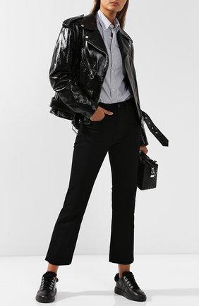 Кожаные кеды на шнуровке Hogan черные | Фото №1