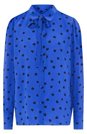Шелковая блуза с принтом в виде сердец | Фото №1