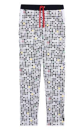 Детские хлопковые брюки прямого кроя с поясом на кулиске Mumofsix разноцветного цвета | Фото №1