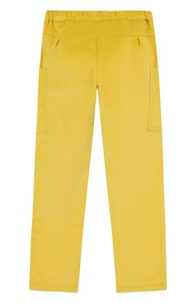 Детские хлопковые брюки прямого кроя с поясом на кулиске Mumofsix желтого цвета | Фото №1