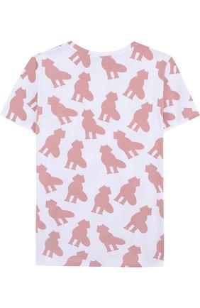 Детская хлопковая футболка с принтом Mumofsix розового цвета | Фото №1