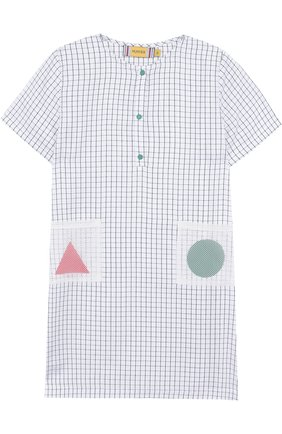 Детское хлопковое платье прямого кроя Mumofsix разноцветного цвета | Фото №1