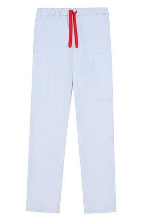 Хлопковые брюки прямого кроя с поясом на кулиске | Фото №1