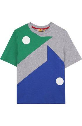 Детская хлопковая футболка с принтом Mumofsix разноцветного цвета | Фото №1