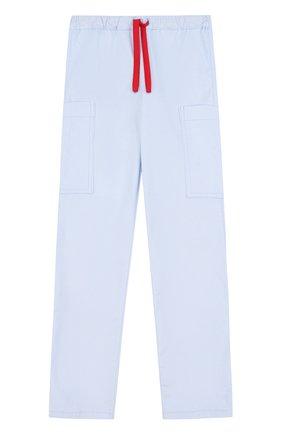Детские хлопковые брюки прямого кроя с поясом на кулиске Mumofsix голубого цвета | Фото №1