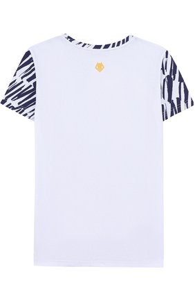 Детская хлопковая футболка с принтом Mumofsix синего цвета | Фото №1
