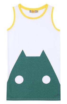 Хлопковая майка с контрастным принтом Mumofsix зеленого цвета | Фото №1