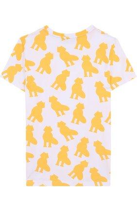 Детская хлопковая футболка с принтом Mumofsix желтого цвета | Фото №1
