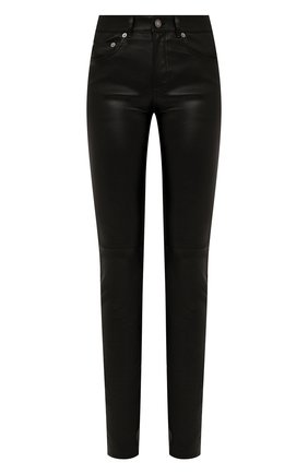 Женские кожаные брюки SAINT LAURENT черного цвета, арт. 496409/Y5RG2 | Фото 1
