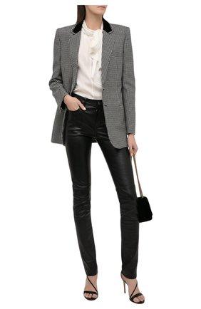 Женские кожаные брюки SAINT LAURENT черного цвета, арт. 496409/Y5RG2 | Фото 2