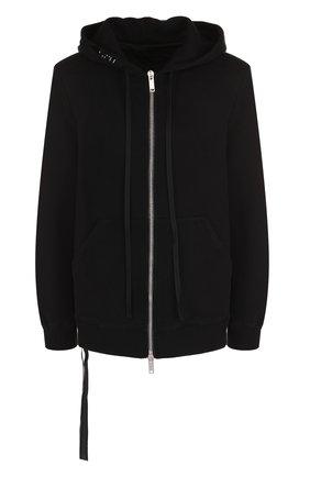Хлопковый пуловер с капюшоном и карманами Ben Taverniti Unravel Project черный | Фото №1