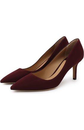 Замшевые туфли Adele на каблуке kitten heel Salvatore Ferragamo бордовые | Фото №1