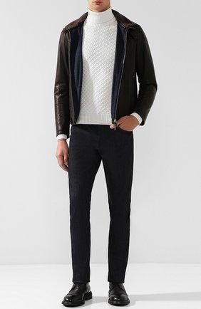 Кожаная куртка с меховой отделкой воротника Gimo's темно-коричневая | Фото №1