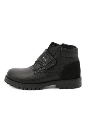 Утепленные кожаные ботинки с застежкой велькро   Фото №2