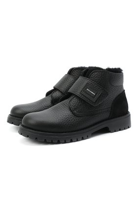 Утепленные кожаные ботинки с застежкой велькро | Фото №1