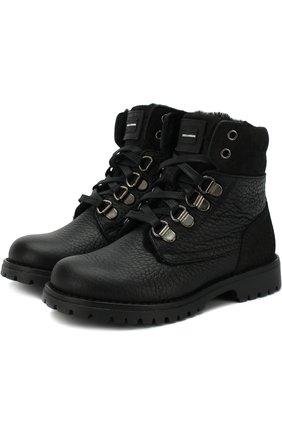 Утепленные кожаные ботинки на шнуровке с молнией | Фото №1