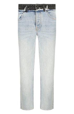Укороченные джинсы прямого кроя с потертостями Denim X Alexander Wang голубые | Фото №1