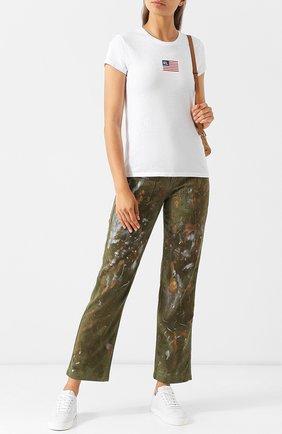 Укороченные джинсы прямого кроя с декоративной отделкой Polo Ralph Lauren хаки | Фото №1