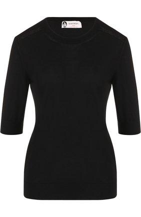 Шерстяной пуловер с круглым вырезом и укороченным рукавом | Фото №1