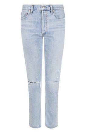Укороченные джинсы с потертостями Agolde голубые | Фото №1