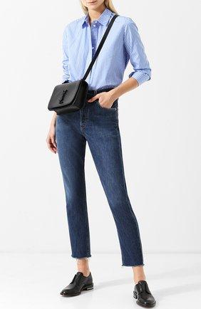 Укороченные джинсы с потертостями и бахромой Agolde синие | Фото №1