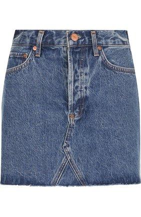 Джинсовая мини-юбка с потертостями Agolde синяя | Фото №1