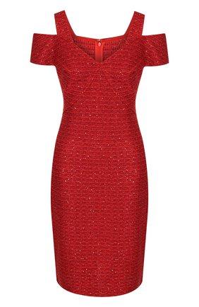 Вязаное мини-платье с разрезами на плечах St. John красное | Фото №1