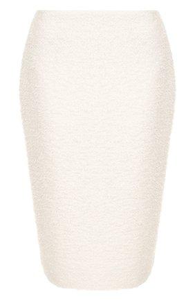 Вязаная юбка-карандаш с разрезом St. John белая | Фото №1