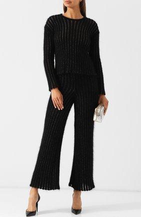 Вязаный шерстяной пуловер с круглым вырезом Giorgio Armani черный | Фото №1