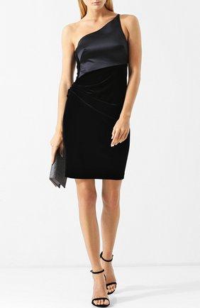 Приталенное мини-платье с открытым плечом Giorgio Armani черное | Фото №1