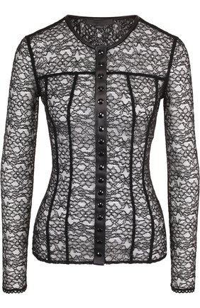 Женская полупрозрачная блуза с круглым вырезом Alexander Wang, цвет черный, арт. 1W281063F4 в ЦУМ | Фото №1