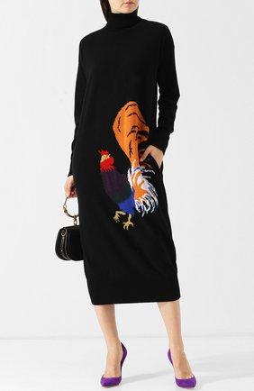 Вязаное платье-миди с воротником-стойкой Stella Jean черное | Фото №1